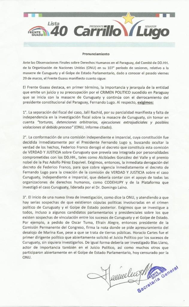 01-04-13 Pronunciamiento ONU - Curuguaty y Golpe