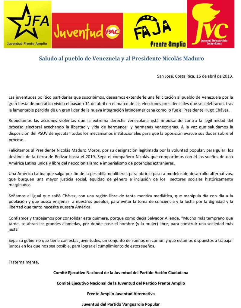 Saludo al pueblo de Venezuela y al Presidente Nicolas Maduro