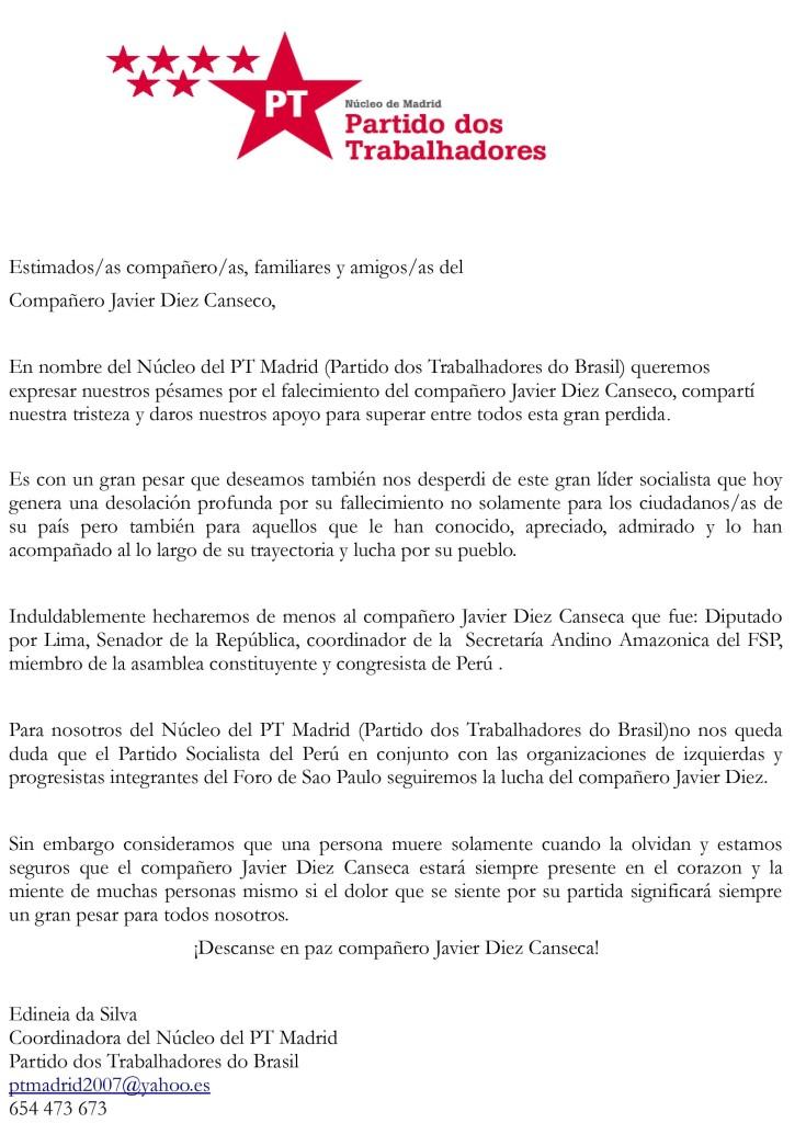 Carta de Condolencia Javier Diez Canseco