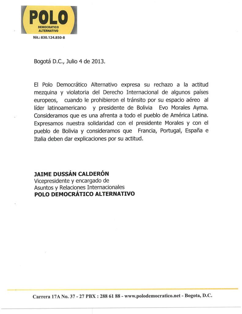 Nota de apoyo a Evo Morales