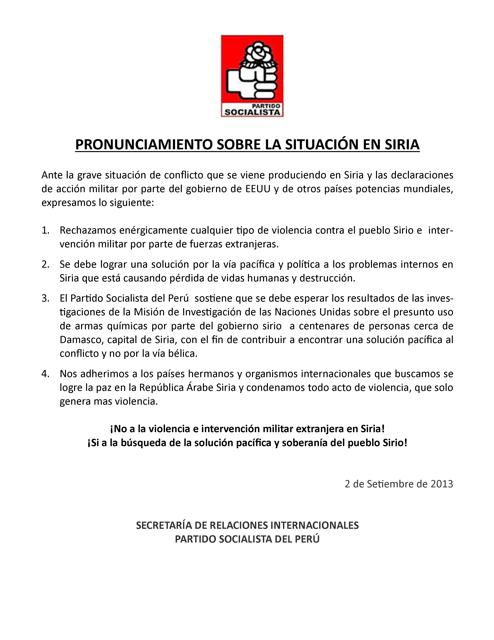 Pronunciamiento sobre la situacion en Siria - PS Peru