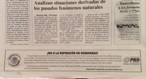 La Jornada Cintillo solidaridad con Honduras