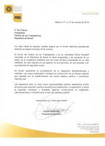 Carta de Felicitaciones a Dilma Rousseff