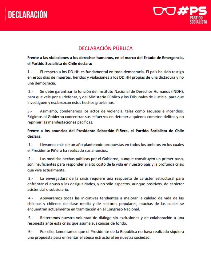 Declaración pública PS DDHH
